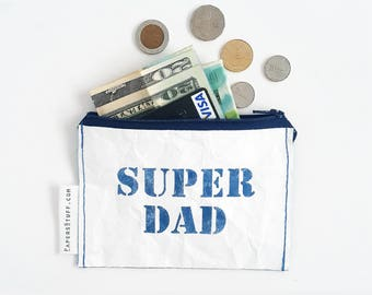 A perfect gift for fother, gift for husband, blue SUPER DAD mini purse, gift idea, eco-friendly wallet, blue zipper coin purse, one off item