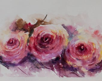Gift ideas, Aquarelle roses, Roses painting, Watercolor roses, Floral Watercolor, Flowers Watercolor, Original Watercolor Painting