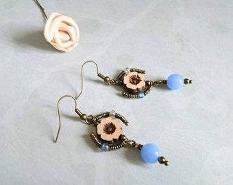 Flirty Blue Flower Earrings, Boho Earrings, Wire Wrapped, Cream, Steampunk, Drop Earrings, Flower Jewelry, Dangle Earrings, Beaded Jewelry,