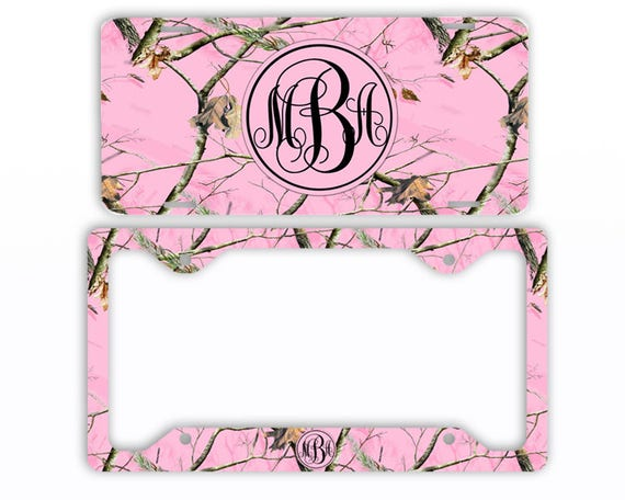 Pink Camo Monogram License Plate Car Tag Pink Camouflage Frame