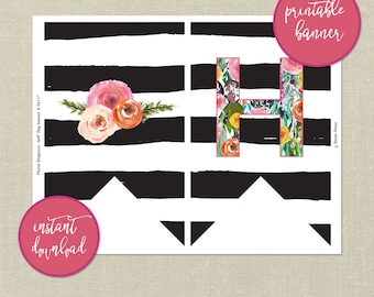 Printable Happy Birthday Banner---Floral and Striped