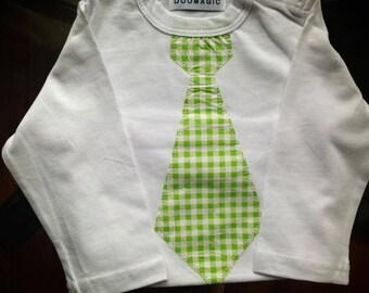 Green checkered tie onesie