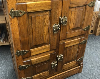 Antique solid oak icebox chest 4 doors brass hinges 21d37w48h Shipping is not free