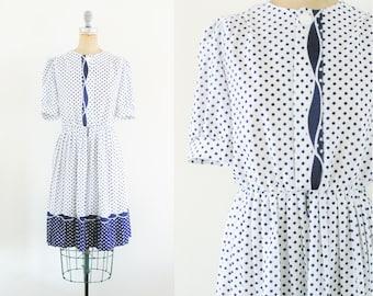 Vintage 1980s 1950s Style Navy and White Polka Dot Dress Navy Polka Dot Dress 50s Polka Dot Dress Blue Polka Dot Dress Medium Size 8