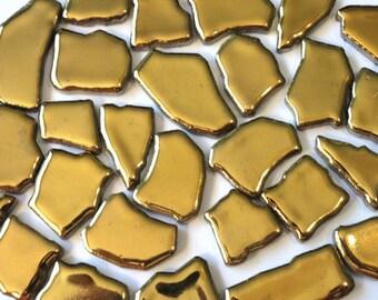 Gold Ceramic Jigsaw Puzzles Mosaic Tiles//Mosaic Pieces//Mosaic Supplies//Jewelry//Craft