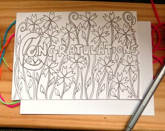 Hand Drawn Congratulations Card, Wedding, Anniversary, Blank Card