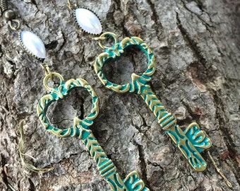 Etched Green Patina Key Earrings with Marque Pearl, Green Patina Key Earrings, Key Earrings, Marque Pearl Earrings, Green Key Earrings