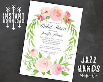 Printable Bridal Shower Invitation Template | Instant Download | Wedding Shower Invitation | Floral | Watercolor | Bridal Shower Invites