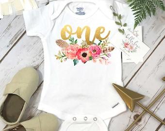 First Birthday Onesie®, Floral Wreath One, Baby Birthday shirt, Custom Birthday, Personalized Birthday, Birthday girl, Boho Birthday, Peach