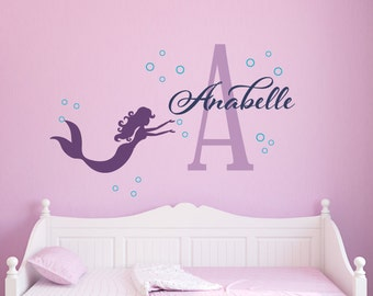 Mermaid Wall Decal, Personalized Mermaid Name Decal, Girl Name Decal, Nautical Nursery Decor, You choose colors, Personalized Name Decal
