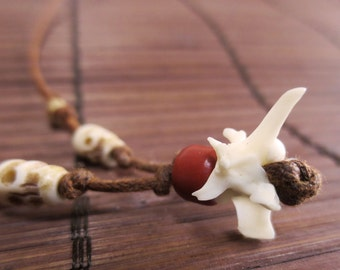 Dia de los Muertos: Snake Vertebrae & Carved Bone Skull Adjustable Necklace N311