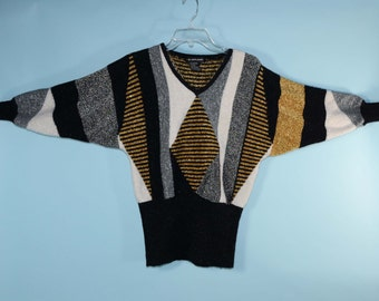 80s Black White & Metallic Gold + Silver Pullover Batwing Sweater, Sparkle Geometric Pattern Disco Holiday Top S