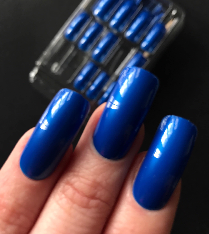 Unique Import extra long pearl mid blue fake nail set 24 pcs