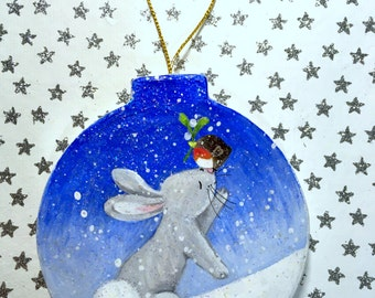 Bunny Love - Paper Mache Christmas Decoration