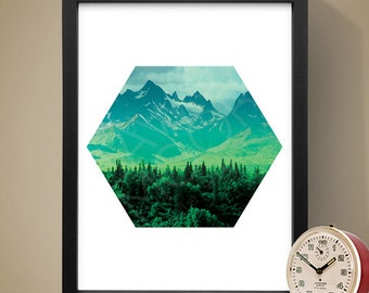 Mountains In The Trees Wall Art, Art Print, Home Wall Decor
