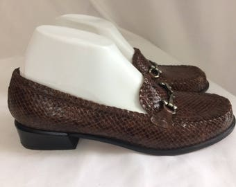 Vintage Delman Brown Woven Leather Womaen Loafers Sz 9.5