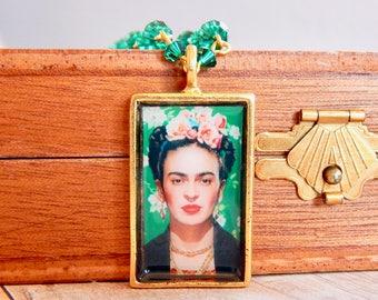 Frida - Frida Kahlo cristal émeraude - vert collier - cristal de swarovski