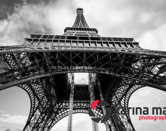 Eiffel Tower Photograph, Paris, France, Black and White, Print, Travel, Romance, Wall Art