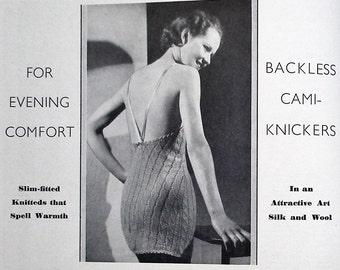 Vintage 1930s needlecrafts magazine - The Needlewoman 1936 No. 163 - vintage sewing book - original knitting patterns 30s lingerie underwear