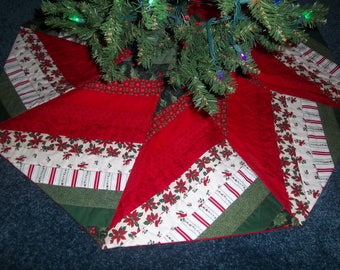"Quilted Christmas Tree Skirt 42"" wide 3 1/2"" center opening, red satin ribbon ties SALE"