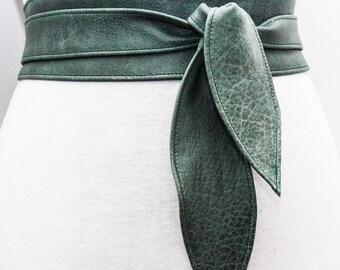 Vintage Green Leather Obi Tulip Tie Belt   Plus Sizes Belt  Real Leather Belt  Corset Belt   Wrap Belt  Obi Sash Belt