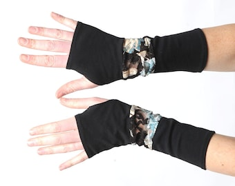 Black and blue armwarmers, Black patchwork gloves, Jersey and lace fingerless gloves, Black lacy wrist warmers, Gift for women, MALAM