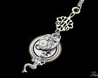 Long Silver Steampunk Mermaid Charm Necklace, Boho Nautical Vintage Jewelry, Silver Watch Movement