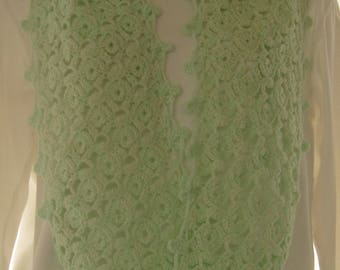 Hand Crocheted Lacy Scarf Made With 100% Virgin Wool Baby Yarn Mint Green