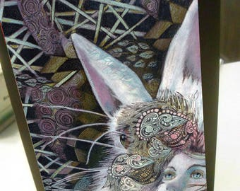 Greeting card print of original art- colorful rabbit go ask alice  Zentangle spirit animal