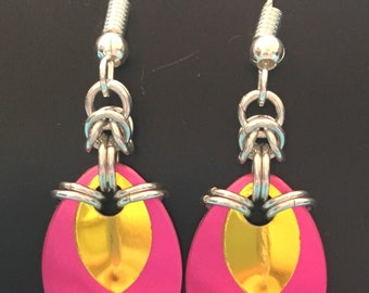Pink and Yellow drop earrings