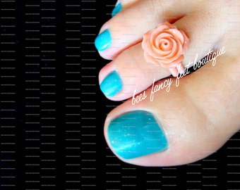 Rose Toe Ring, Pink Polymer Rose Embellishment, Stretch Bead Toe Ring