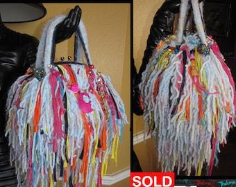 Whimsical,Upcycled Fringe Bag,Handmade Purse,unique Purse,Funky,Colorful,Playful