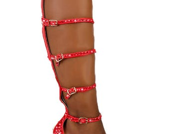 Custom Red Thigh High Heel, Swarovski Heels,Pumps customed with Swarovski ,Custom Bedazzled High Heel,Swarovski Pumps,Pink high heels