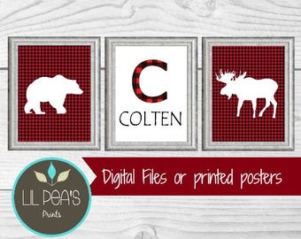 Buffalo Plaid Nursery Prints, Lumberjack Nursery, Rustic Nursery Decor, Woodland Nursery, Lumberjack Baby Shower, Buffalo Plaid Baby Gift