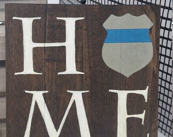 """HOME, Police officer artwork on wood plaque for sale, law enforcement, Thin Blue Line Wooden Sign, Police officer gifts, 8""""x8"""""""