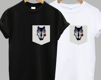 Wolf and Rose Print Pocket T-shirt Shirt Top Tee Hipster Indie Swag Dope Hype Black White Mens Womens Cute Pocket Shirt Nature Outdoors