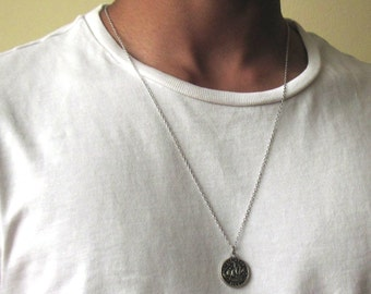 Mens silver necklace etsy mozeypictures Gallery