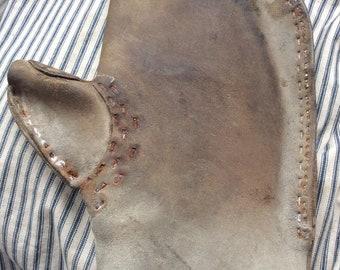 VINTAGE LEATHER MITT, imdustrial working hand glove, welding mitt, costume, fire glove
