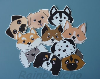 """10 stickers """"dogs heads"""""""