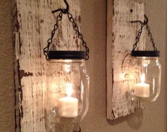 White barn wood mason jar candle holders, SET OF TWO Handmade