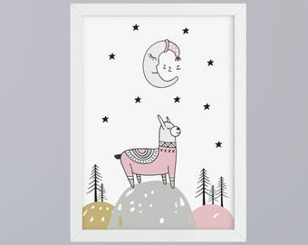 Lama with moon-art print without frame