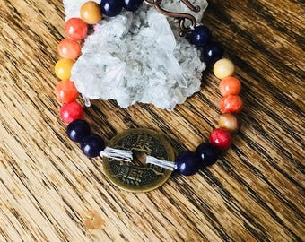 Chinese Coin Gemstone Bracelet