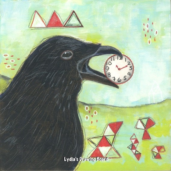 Crow, Raven, Spirit Animal, Mystical Art, Bird Art, Crow Art, Raven Art, Nature Art Print, Bird Art Print, Bird Artwork, 1111, Angel Numbers