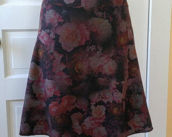 Jersey Knit Skirt - Slim A-line - Floral Space Dye Pattern in Rose - Size Medium