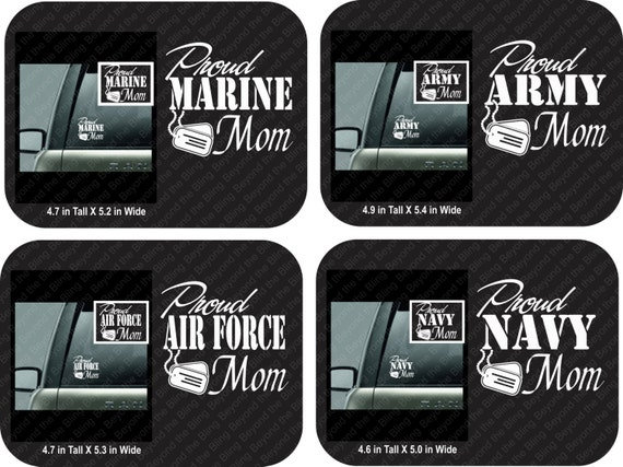 Proud Army Mom Car Decal Proud Air Force Mom Car Decal Proud