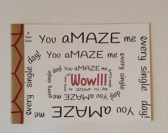 You AMAZE Me Encouraging Greeting Card Hand Made Japanese Hand Bound Unique