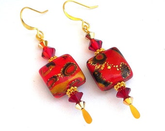 Red and gold earrings, polymer clay and Swarovski crystal, Christmas earrings, Arabian Nights