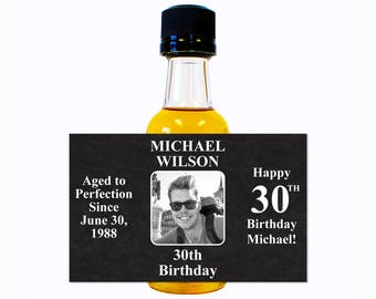 Custom Liquor Mini Bottle Labels - Adult Birthday Favors - Personalize with Custom Text, Color, & Image - Mens 30 Birthday Party Celebration