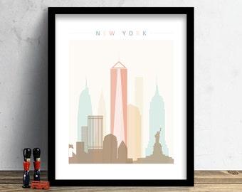 New York Skyline, Print, Watercolor Print, NYC Wall Art, Watercolor Art, City Poster, Cityscape, Home Decor, Christmas Gift PRINT