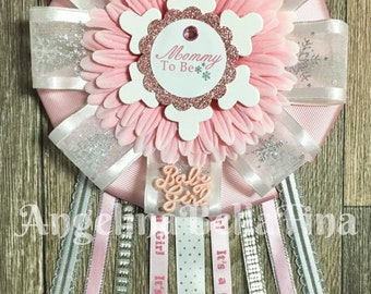 NEW Pink Snowflake Mommy To Be Corsage